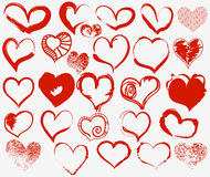 Grunge hearts set. A large collection of grunge hearts symbols Stock Photo