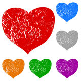 Grunge hearts set Royalty Free Stock Photography