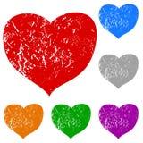 Grunge hearts set Royalty Free Stock Photography