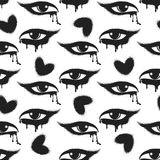 Grunge hearts and tearful eyes pattern. Seamless pattern with black grunge hearts and tearful eyes. Vector illustration Royalty Free Stock Image