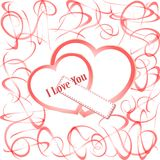 Grunge hearts with text I love you. valentines Royalty Free Stock Photos