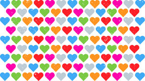 Grunge Hearts Vector. Colorful, happy hearts with grunge clipping mask (u can have them un-masked too Stock Image