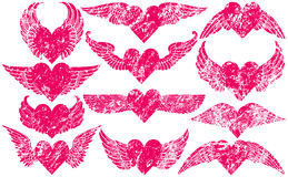 Grunge Hearts with Wings Royalty Free Stock Photos