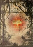 Grunge hell. Image of an exploding bomb in abstract grunge background Royalty Free Stock Photo