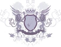 grunge heraldyczna kluczy lwów osłona Zdjęcie Royalty Free