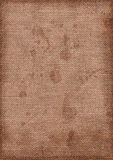 Grunge hessian texture. Dirty stained hessian sack cloth material texture. Scanned image Stock Photos