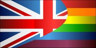 Grunge het Verenigd Koninkrijk en Vrolijke vlaggen Royalty-vrije Stock Afbeeldingen