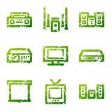 Grunge hi-fi contour icons Stock Photo
