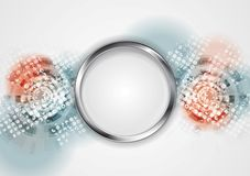 Grunge hi-tech vector background with metal circle Stock Images