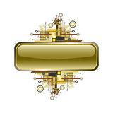 Grunge & hi-tech vector banner or button. Royalty Free Stock Images