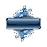 Grunge & hi-tech vector banner or button. Button with hi-tech background