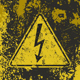 Grunge High voltage poster. Stock Photo