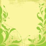 Grunge Hintergrund mit dekorativen Blättern. Lizenzfreie Abbildung