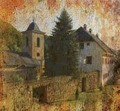 Grunge Hintergrundfoto des orthodoxen Klosters Stockbild
