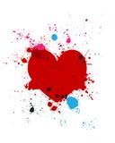 Grunge hjärtafärgstänk Arkivfoto