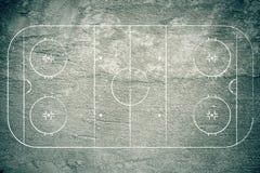 Grunge Hockey Rink. With chalk drawn lines Stock Photo