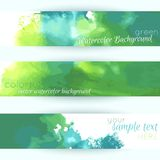 Grunge horizontal paper elements. Green watercolor banners Stock Images