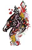 Grunge horse head symbol with red hearts. Tribal splattered bright horse head with elements of red wings, jaguars and red hearts Royalty Free Stock Image