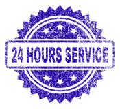 Grunge 24 HOURS SERVICE Stamp Seal. 24 HOURS SERVICE stamp watermark with grainy style. Blue vector rubber seal print of 24 HOURS SERVICE caption with unclean Royalty Free Stock Photos