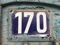 Grunge 170 house number plate Royalty Free Stock Photo