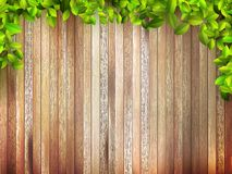 Grunge Houten Textuur met bladeren. + EPS10 Stock Afbeelding