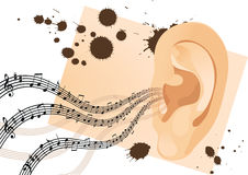 Grunge human ear. With musical notes. Vector illustration Royalty Free Stock Photos