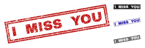 Grunge I MISS YOU Scratched Rectangle Watermarks. Grunge I MISS YOU rectangle stamp seals isolated on a white background. Rectangular seals with grunge texture stock illustration