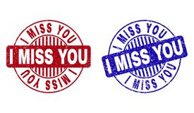 Grunge I MISS YOU Scratched Round Watermarks. Grunge I MISS YOU round stamp seals isolated on a white background. Round seals with distress texture in red and vector illustration