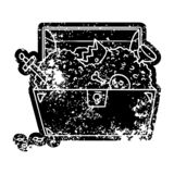 Grunge icon drawing of a treasure chest. A creative illustrated grunge icon image drawing of a treasure chest stock illustration