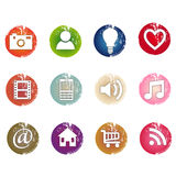 Grunge icons. Set of grunge icons, once or more use of gradients, no use of transparency Royalty Free Stock Photography