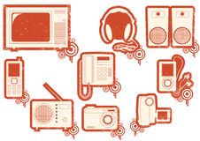 Grunge icons of red symbols royalty free stock images