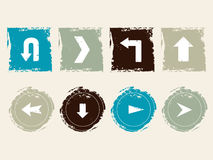 Grunge icons. Set of icons with arrows in grunge style Stock Photos