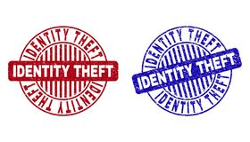 Grunge IDENTITY THEFT Textured Round Watermarks. Grunge IDENTITY THEFT round stamp seals isolated on a white background. Round seals with distress texture in red stock illustration