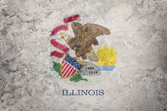 Grunge Illinois state flag. Illinois flag background grunge text. Ure. Flags of the U.S. state Royalty Free Stock Images