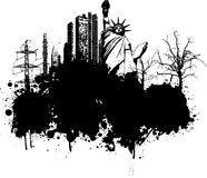 Grunge illustration. Grunge style illustration with buildings and trees Stock Image