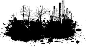Grunge illustration. Grunge style illustration with buildings and trees Royalty Free Stock Photography