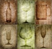 Grunge illustration with bottle and glasses Stock Image