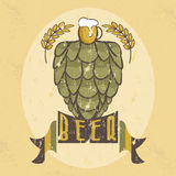 Grunge illustration of glass with beer,hops Royalty Free Stock Images