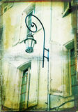 Grunge illustration of a house with a lamp Royalty Free Stock Images