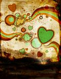 Grunge illustration with retro elements. Rainbows, bubbles and hearts springing out of the ground stock illustration