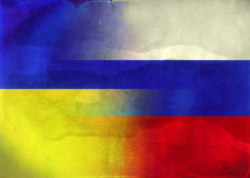 Grunge Illustration  Russian and Ukrainian Flags Royalty Free Stock Photos