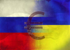 Grunge Illustration - Russian and Ukrainian Flags Stock Photo