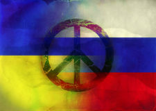 Grunge Illustration  Russian and Ukrainian Flags Royalty Free Stock Photo