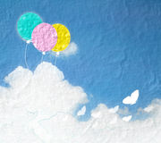 Grunge image of blue sky with clouds and colorful Royalty Free Stock Image