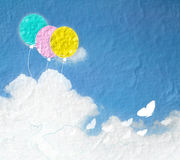 Grunge image of blue sky with clouds and colorful.Colorful ballo Stock Photos