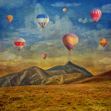 Grunge image  of colorful hot air balloons Stock Photo