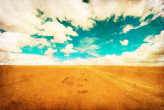 Grunge image of desert road Stock Photos