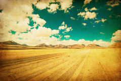Grunge image of desert road stock illustration