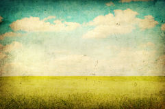 Grunge image of green field Royalty Free Stock Images