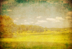Grunge image of green field and blue sky Royalty Free Stock Photo